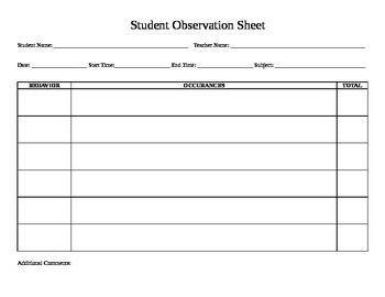 Student Observation Sheet By Sptalkative