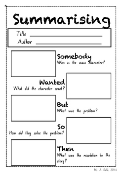 Summarising Worksheet By Ally K