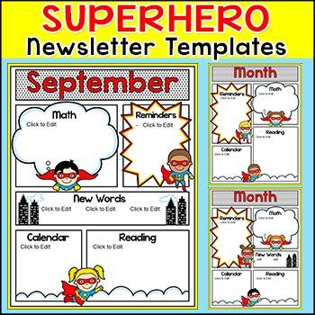 Superhero Theme Newsletter Template Editable For Any Language