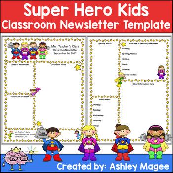 Editable Teacher Newsletter Template Super Hero Kids Theme