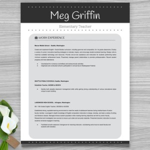 Teacher Resume Template   Cover Letter   References  Black     Teacher Resume Template   Cover Letter   References  Black  PowerPoint  EDITABLE