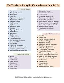 Teacher Supplies List By Trusty Teacher Toolbox TpT