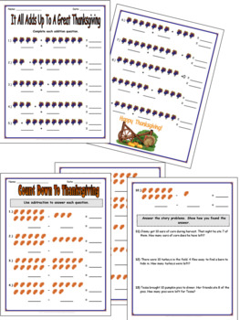 Thanksgiving Math Worksheets By Tchrbrowne