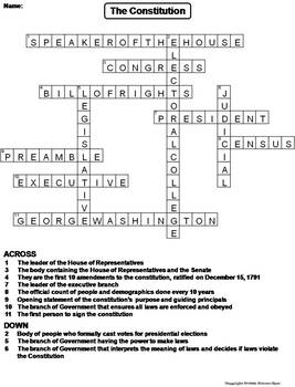Us Constitution Worksheet Crossword Puzzle By Science