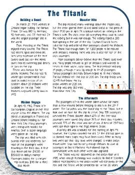 Titanic Nonfiction Close Reading Comprehension Passage And