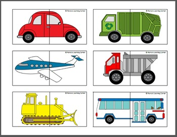 Transportation Puzzle Cards By Mamas Learning Corner TpT