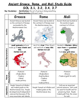 Ancient Greece Rome And Mali Study Guide