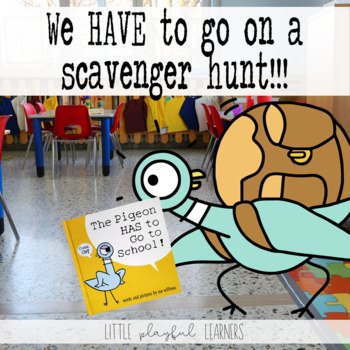 Hilarious first-day-of school scavenger hunt that goes along with The Pigeon HAS to Go to School by Mo Willems