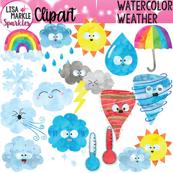 Weather Clipart Watercolor By Lisa Markle Sparkles Clipart And Preschool