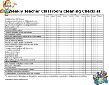 Classroom Cleaning Checklist Worksheets Teaching Resources