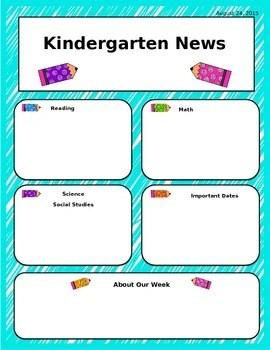 Kindergarten Newsletter Template Editable Worksheets