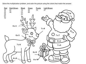 Winter Christmas Multiplication Coloring Pages By Angela Widdersheim
