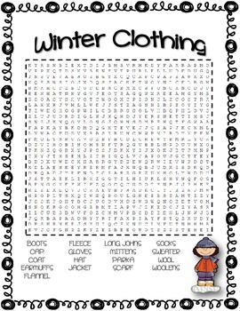 Winter Clothing Vocabulary Word Search By Amy The Teacher Tpt