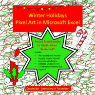 Winter Holiday Pixel Art in Microsoft Excel or Google Sheets