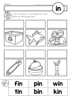 CVC Word Families No Prep Cut Amp Paste Worksheets By