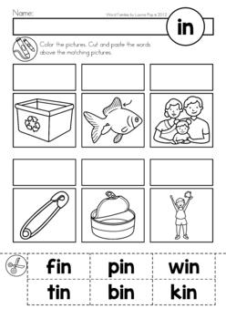 Cvc Word Families No Prep Cut Paste Worksheets