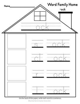 Word Families House Worksheet Kindergarten Part 4