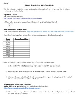 World Population Webquest Worksheet By Agriculture