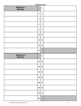 Yearbook Ladder Editable Template {16page Signatures} by