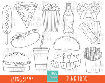 Junk Food Clipart Fast Food Clipart Hamburger Hot Dog Black And White