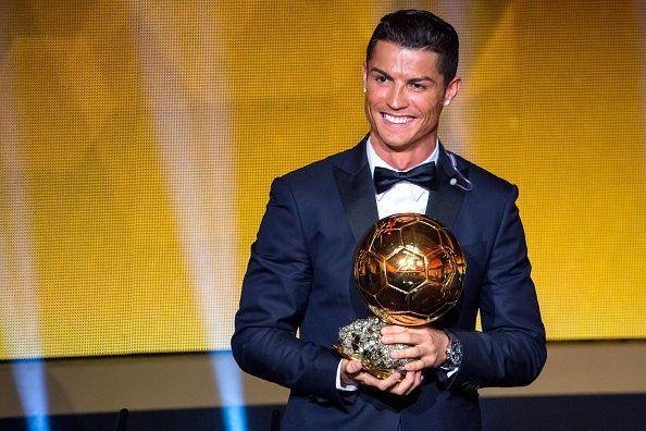 Cristiano Ronaldo with his Ballon d'Or