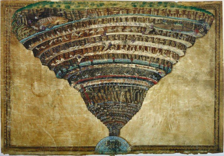 Sandro Botticelli - La Carte de l'Enfer la Dante