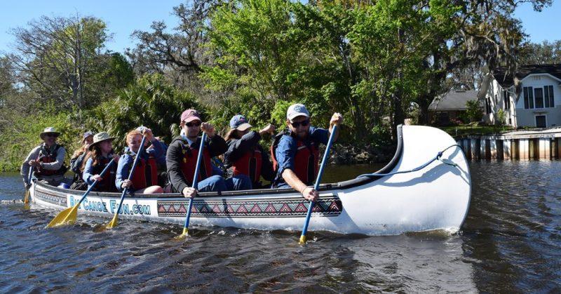 Students paddling