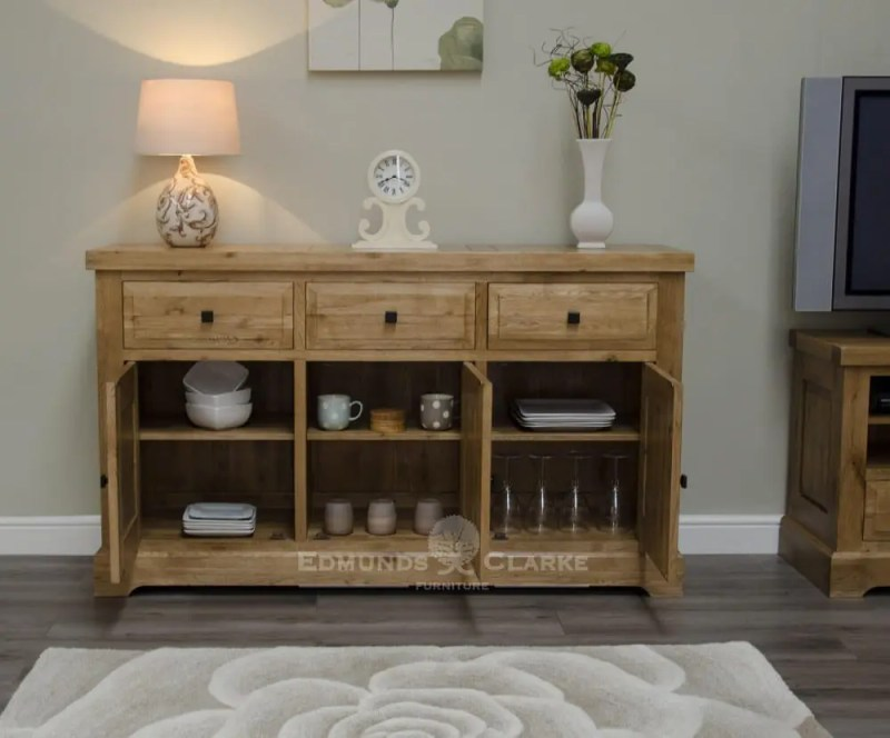 Deluxe Rustic Solid Oak large sideboard with three drawers three doors oak shelves inside cupboards DLXLSB