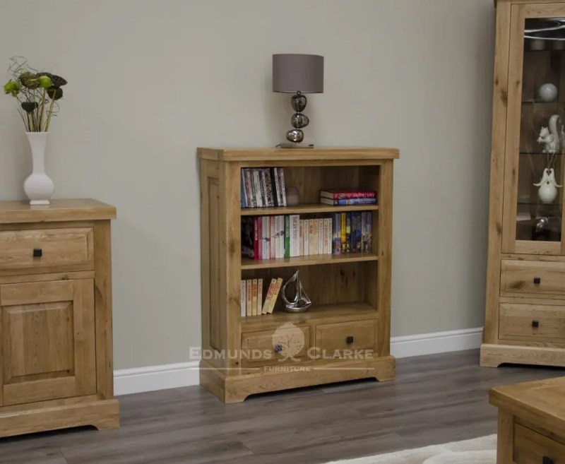 Deluxe Rustic Solid Oak small bookcase with two drawers 2 adjustable shelves and various handle options available DLXSMBC