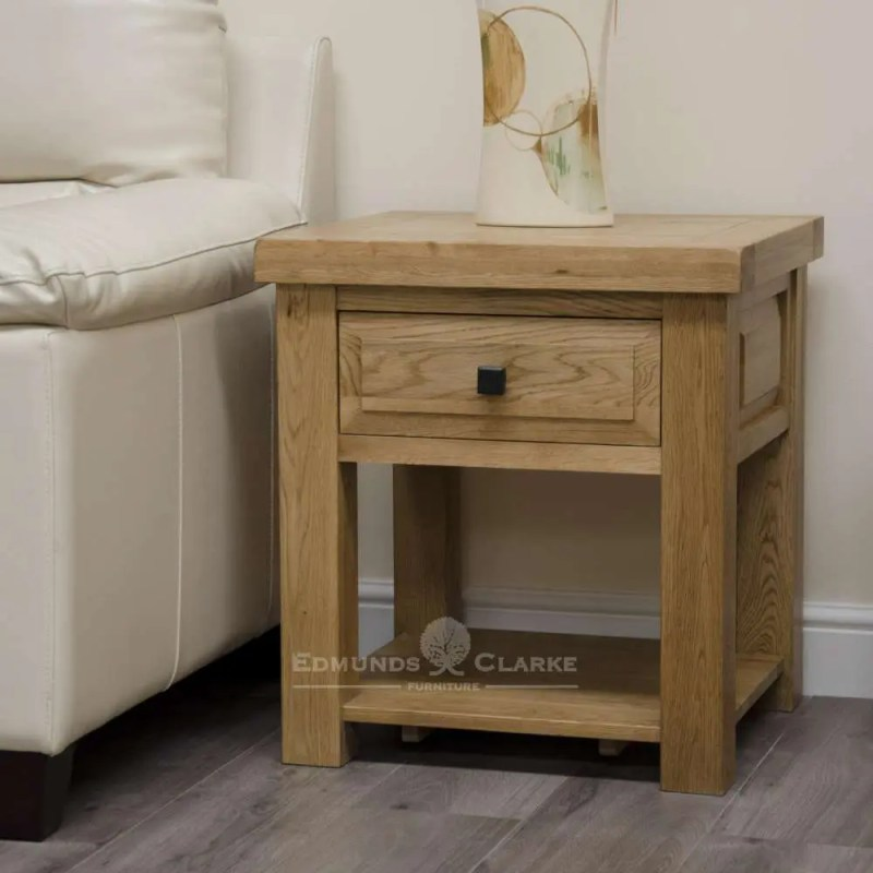 Melford solid oak lamp table deluxe chunky rustic solid oak with one drawer and bottom shelf below choice of knobs DLXLT