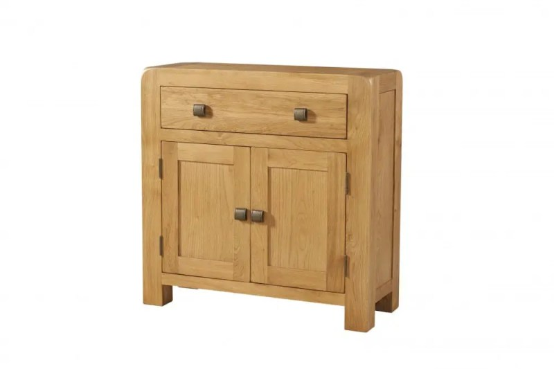 Avon Oak Compact small sideboard .Contemporary and Quirky Waxed Oak with smooth edges. 1 long drawer above with square rustic knobs . DAV005