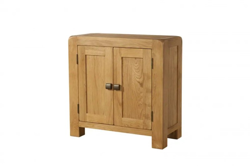 Avon Oak small 2 door cabinet. Contemporary and Quirky Waxed Oak with smooth edges. DAV007