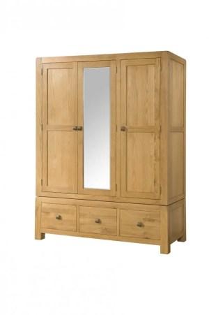 DAV036 Avon Oak Triple 3 drawer Wardrobe . medium wax oak, rounded edges and chunky feet