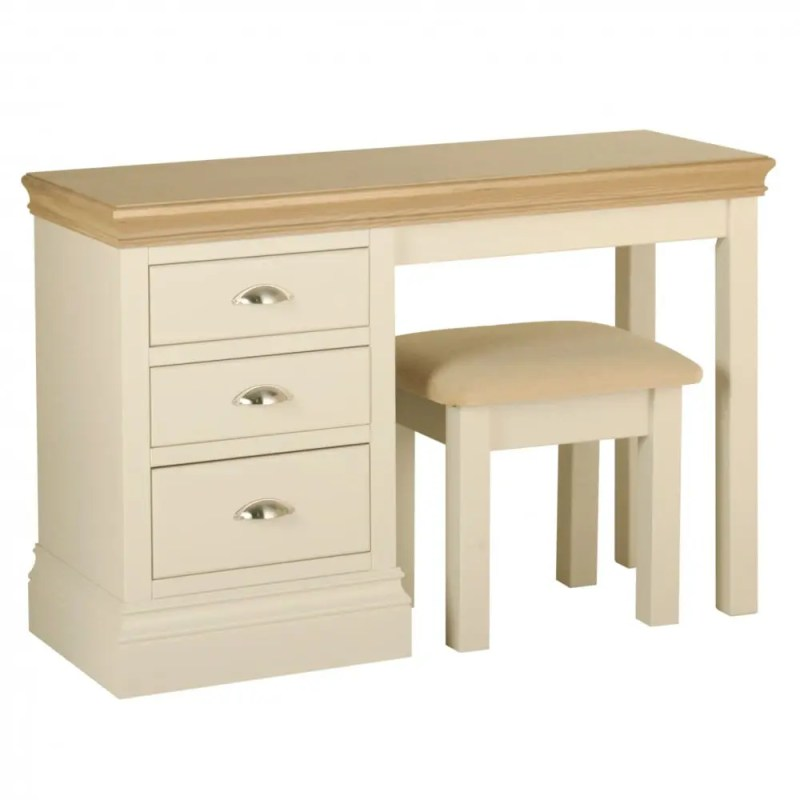 lundy painted three drawer single pedestal dressing table with padded stool. solid chunky moulded oak top, painted deep chunky moulded plinth various colours and handle options available LB25