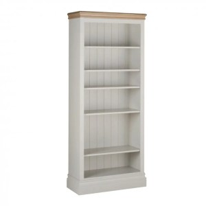 lundy painted 6ft bookcase. solid chunky moulded oak top, painted deep chunky moulded plinth various colours available LK40