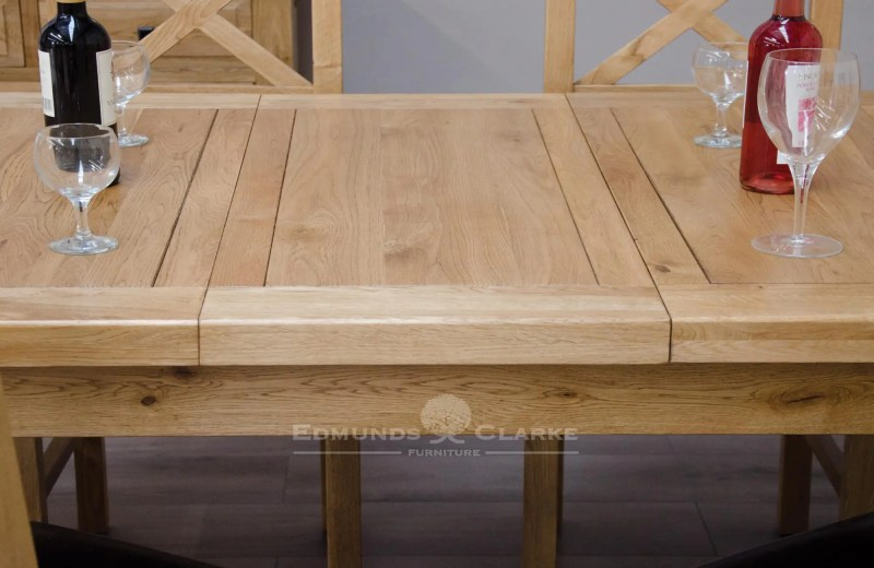 image of Melford solid oak 150cm extending table top leaf detail DLX1500EXT