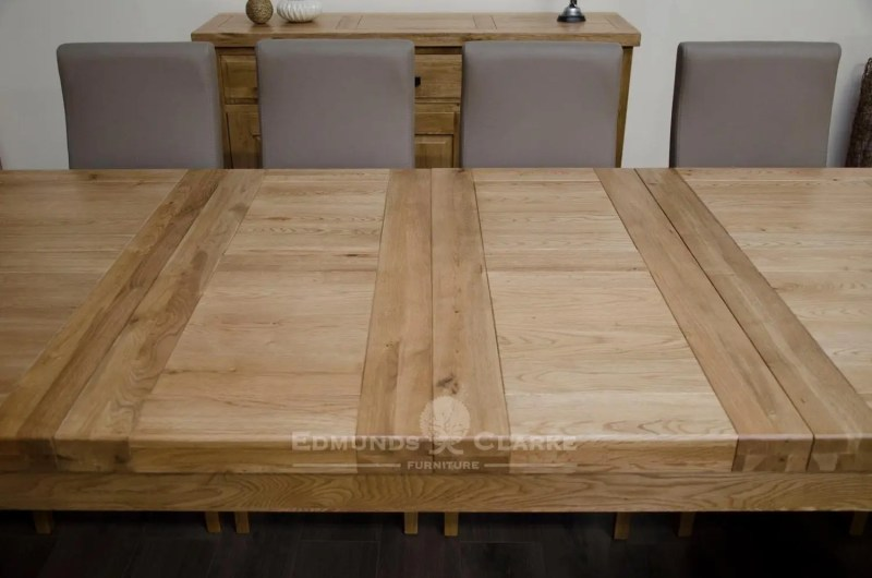 Melford Solid Oak 2400 Extending Dining Table showing 2 50cm leaves open DLX2400EXT