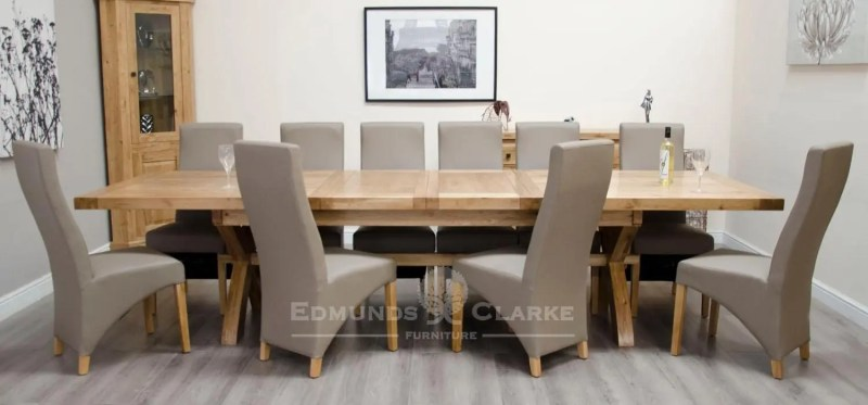 Melford Solid Oak 2400 Extending Dining Table chunky, two leaves that store underneath will sit 8 to 12 people comfortably DLX2400EXT