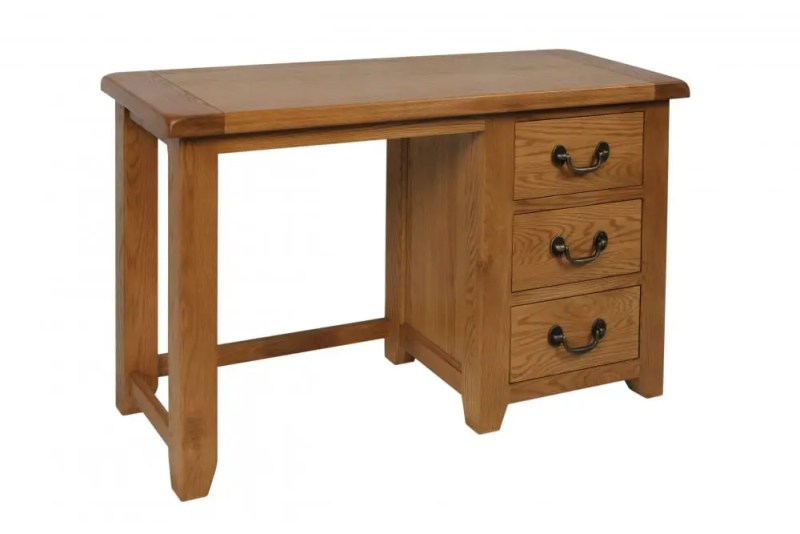 Somerset Oak Dressing table. Chunky contemporary waxed oak. chunky top, three drawers with dark antique brass drop down handles SOM022