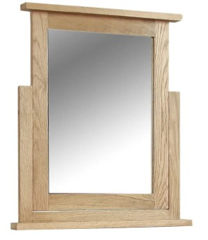 Somerset Oak Mirror. Chunky contemporary waxed oak. sits on swing stand SOM024
