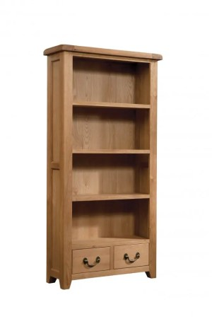 Somerset Oak Bookcase 90 x 180cm. 2 handy drawers, 3 shelves. Chunky contemporary waxed oak .chunky top, tapered legs and dark antique brass round rustic drop down handles. SOM062