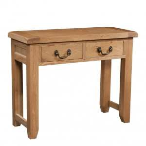 Somerset Oak Console Table. Contemporary Chunky Oak with wax feel, 2 handy drawers with antique brass drop down handles SOM078