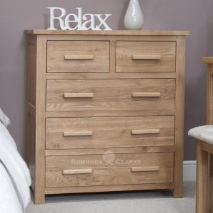 Bury Solid Oak 5 drawer chest. 2 small drawers with 3 large drawers under. light lacquered oak with choice of bar handles