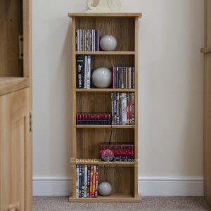 Bury solid oak CD/DVD Tower with 4 fixed shelves