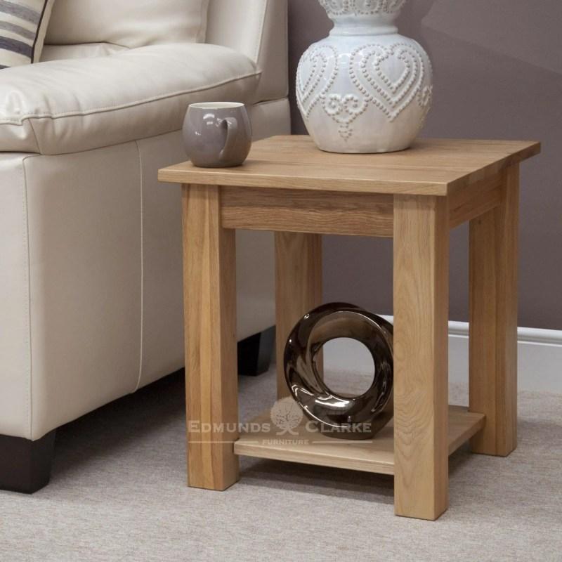 Bury Solid Oak Lamp Table with shelf