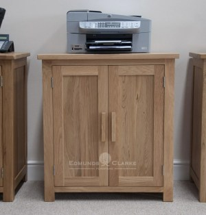 bury solid oak printer/occasional cupboard. adjustable shelf, chrome handles as standard, oak bar handle available as extra