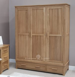 Bury Solid Oak Large Triple Wardrobe. two drawers and full hanging with choice of handles