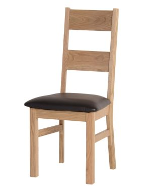 Light Oak Ladder Back Dining Chair.Two wide slats on the back with faux leather dark brown seat pad. DOR098
