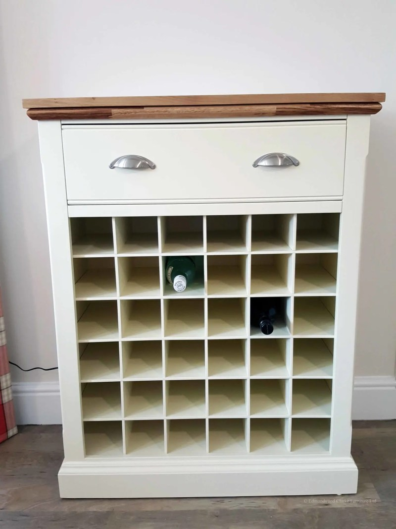 Edmunds Painted Wine Rack 36 Bottles. Contrasting white bottle rack. 1 deep long above with 2 chrome cup handles. moulded oak top.EDM025
