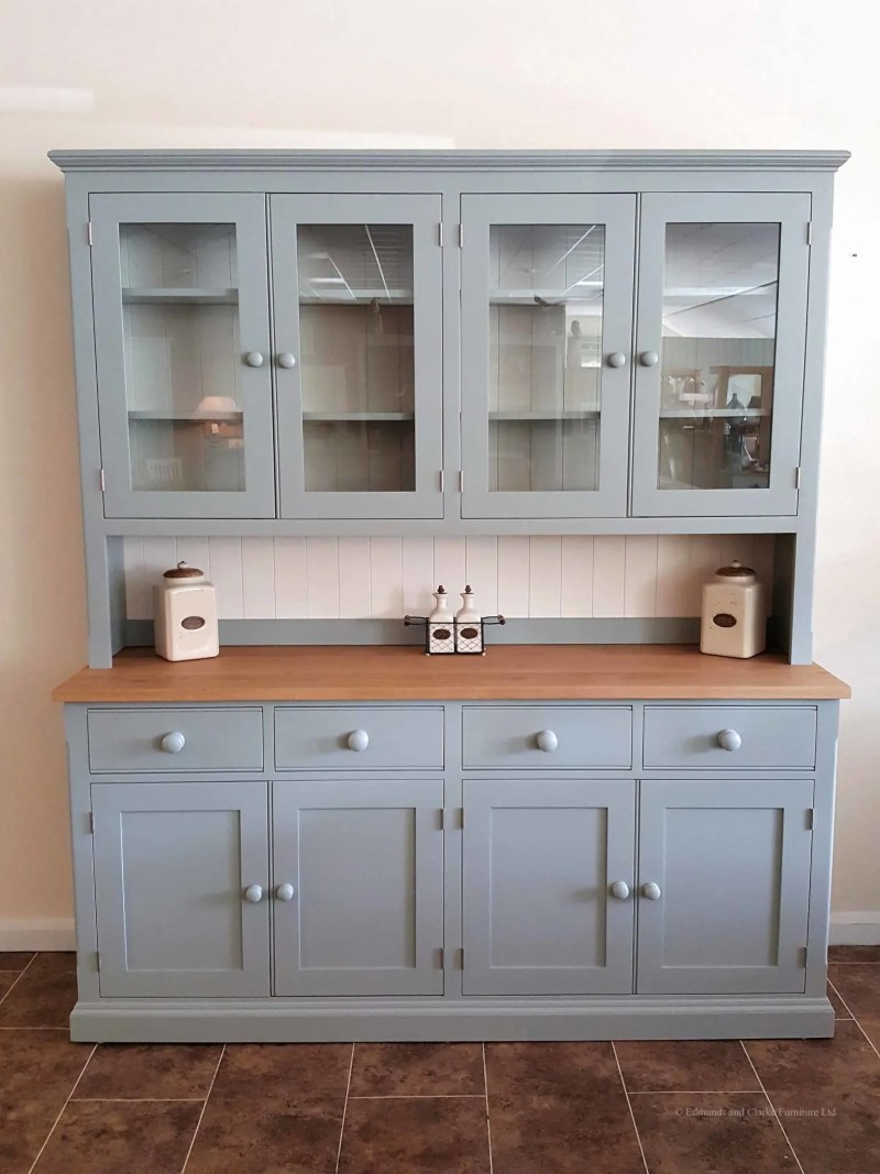 """Painted 6ft 6"""" Half Glazed Dresser. with contrasting white backboards. sideboard has square oak top with 4 drawers and 4 doors. painted knobs and all adjustable shelves. choice of handles and knobs. EDM030"""
